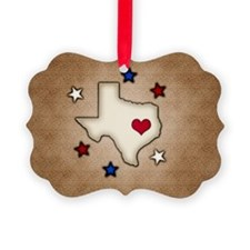Texas Red Heart Ornament