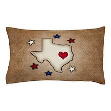 Texas Red Heart Pillow Case