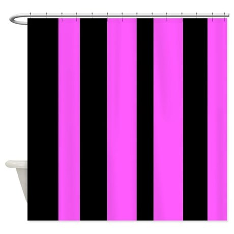 Black And Pink Vertical Stripes Shower Curtain By VeryCute