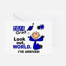 2014 Stick Grad 1.1 Blue Greeting Card