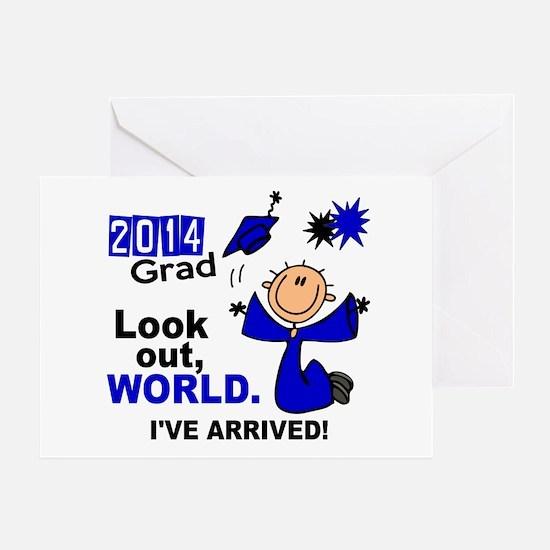 2014 Stick Grad 1.1 Blue Greeting Card