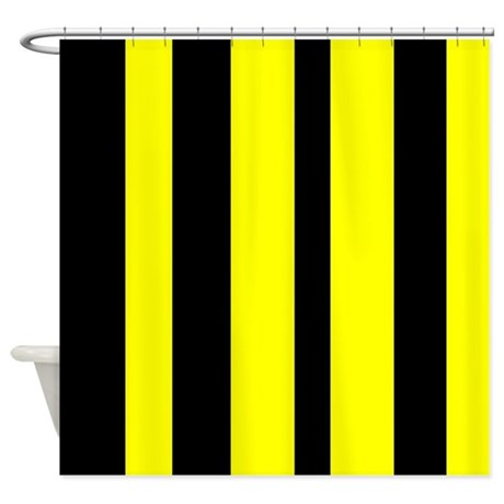 black and yellow vertical stripes shower curtain by verycute. Black Bedroom Furniture Sets. Home Design Ideas