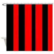 Black And Red Vertical Stripes Shower Curtain