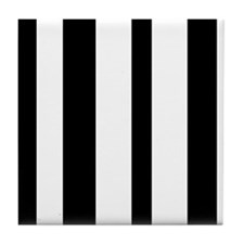 Black And White Vertical Stripes Tile Coaster