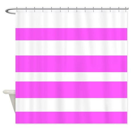 White And Pink Horizontal Stripes Shower Curtain By VeryCute