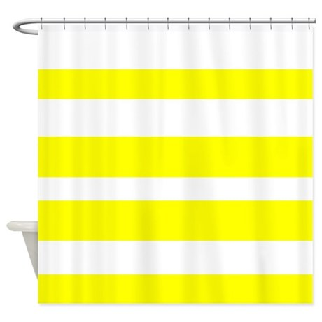 White And Yellow Horizontal Stripes Shower Curtain By VeryCute