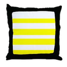 White And Yellow Horizontal Stripes Throw Pillow