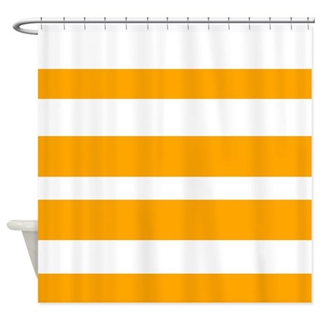 White And Orange Horizontal Stripes Shower Curtain By VeryCute
