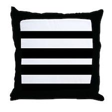 White And Black Hortizontal Stripes Throw Pillow