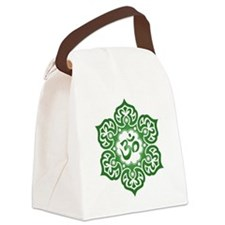 Green Lotus Flower Yoga Om Canvas Lunch Bag