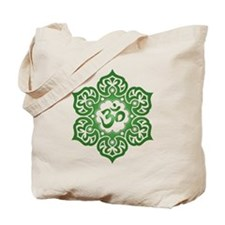 Green Lotus Flower Yoga Om Tote Bag