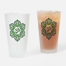 Green Lotus Flower Yoga Om Drinking Glass