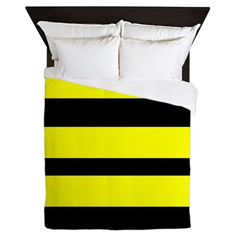 Black And Yellow Horizontal Stripes Queen Duvet By Verycute