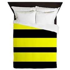 Black And Yellow Horizontal Stripes Queen Duvet