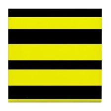 Black And Yellow Horizontal Stripes Tile Coaster