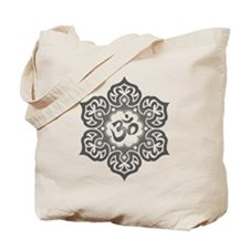 Gray Lotus Flower Yoga Om Tote Bag