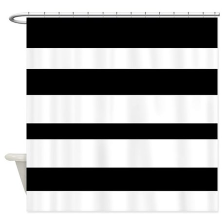 Black And White Horizontal Stripes Shower Curtain By Verycute