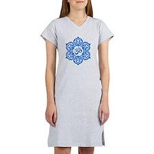 Blue Lotus Flower Yoga Om Women's Nightshirt