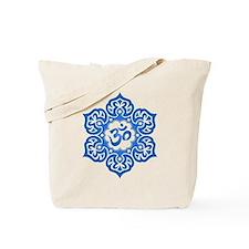 Blue Lotus Flower Yoga Om Tote Bag