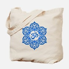 Blue Lotus Flower Yoga Om Tote Bag