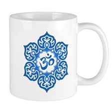 Blue Lotus Flower Yoga Om Mugs