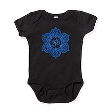 Blue Lotus Flower Yoga Om Baby Bodysuit