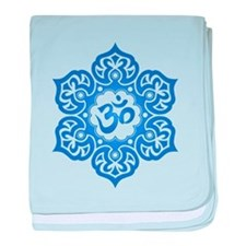 Blue Lotus Flower Yoga Om baby blanket