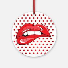 Pop Art Lips Ornament (Round)