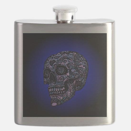 Blue Skull Flask