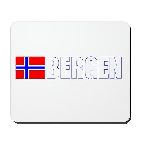 Bergen, Norway Flag II (Dark) Mousepad