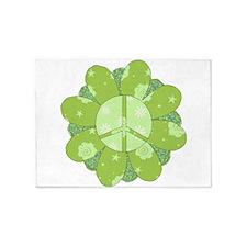 Green Flower Peace 5'x7'Area Rug