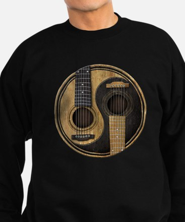 Old and Worn Acoustic Guitars Yin Yang Jumper Sweater