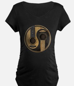 Old and Worn Acoustic Guitars Yin Yang Maternity T