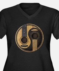 Old and Worn Acoustic Guitars Yin Yang Plus Size T