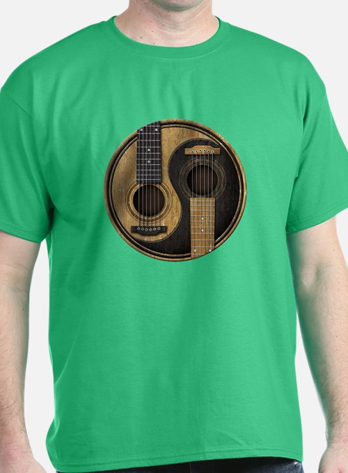 Old and Worn Acoustic Guitars Yin Yang T-Shirt