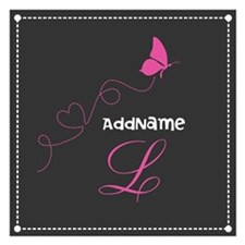Custom Monogram Butterfly 5.25 x 5.25 Flat Cards