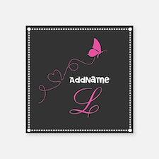 "Custom Monogram Butterfly Square Sticker 3"" x 3"""