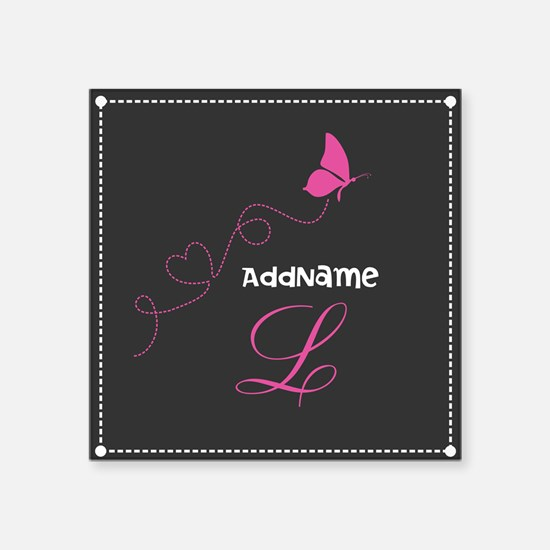 "Custom Monogram Butterfly Square Sticker 3"" x 3"""
