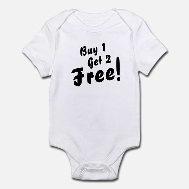 Triplets B1G2 Free Funny Baby Bodysuit