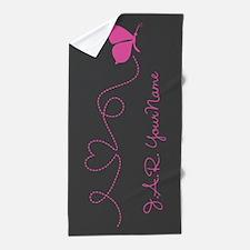 Beautiful Pink Butterfly Beach Towel