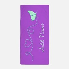 Purple Custom Name Butterfly Beach Towel