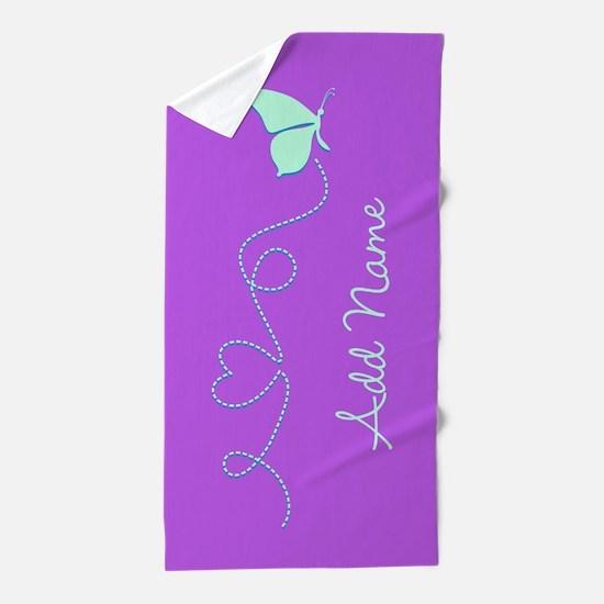 Purple Custom Name Butterfly Beach Towel