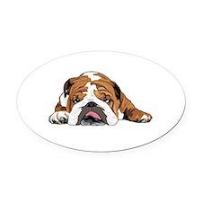 Funny English bulldogs Oval Car Magnet