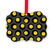 Yellow Black And Grey Wobbly Dots Ornament