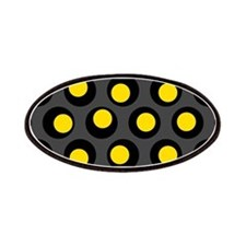 Yellow Black And Grey Wobbly Dots Patches