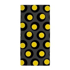Yellow Black And Grey Wobbly Dots Beach Towel