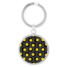 Yellow Black And Grey Wobbly Dots Keychains