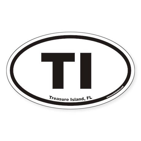 Treasure Island Florida TI Euro Oval Sticker