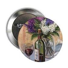 "Glass of wine and lilac 2.25"" Button"