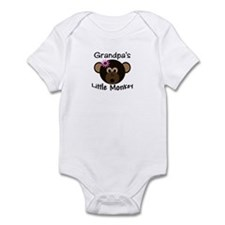 Grandpa's Little Monkey Girl Funny Baby bodysuit